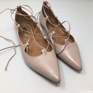 Halogen lace-up blush pointed toe Sz 10 med flat
